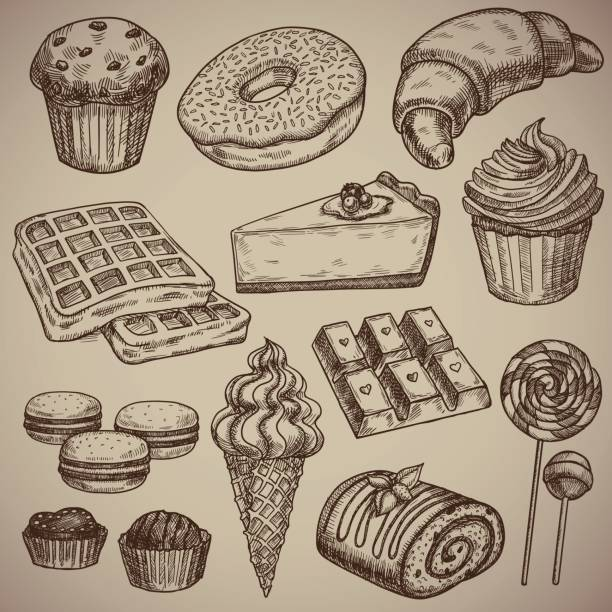 Engraving a sweet set: muffin, donut, croissant, waffles, cheesecake, capcake, macaroons, chocolate bar, two chocolate sweets, ice cream in a waffle cup, a chocolate roll and two candies on a stick. Engraving menu for the restaurant. Vector illustration. Engraving a sweet set: muffin, donut, croissant, waffles, cheesecake, capcake, macaroons, chocolate bar, two chocolate sweets, ice cream in a waffle cup, a chocolate roll and two candies on a stick. Engraving menu for the restaurant. Vector illustration. EPS 10. candy drawings stock illustrations