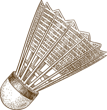 engraving antique illustration of shuttlecock