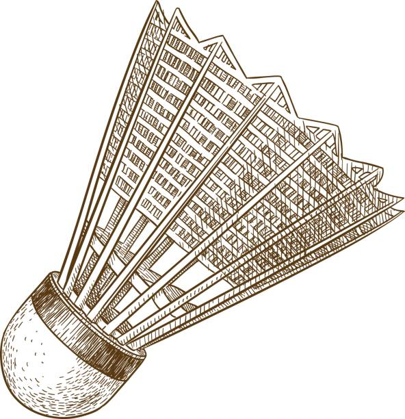 engraving antique illustration of shuttlecock Vector antique engraving illustration of shuttlecock isolated on white background shuttlecock stock illustrations