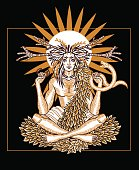 Engraving art of a wicca Horned God Cernunnos holding snake and wearing torc. Occult symbolic illustration pagan deity for t-shirt print. Paganism.