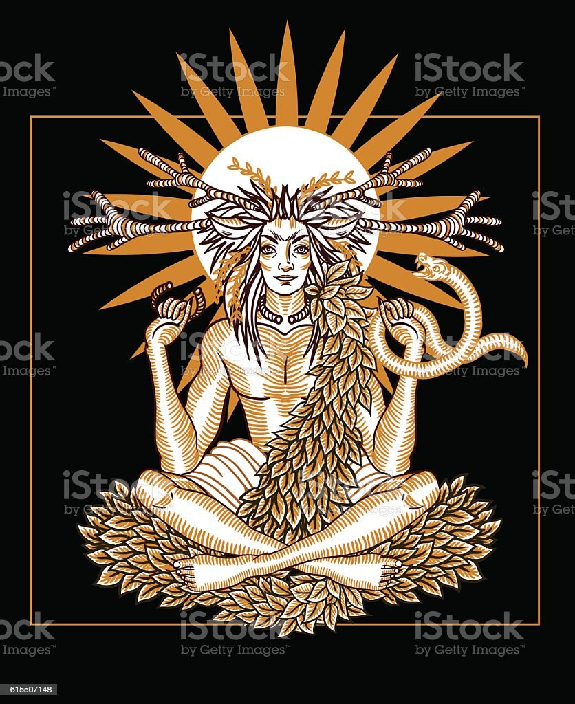 Engraving art of a wicca Horned God. Paganism. vector art illustration