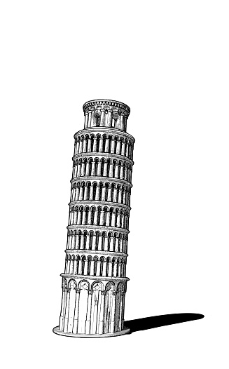 Monochrome vintage engraved drawing Pisa tower of Italy front view vector illustration isolated on white background