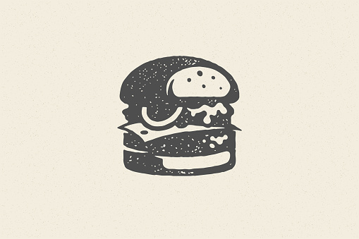 Engraving burger silhouette with texture hand drawn style effect vector illustration
