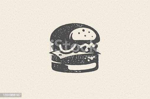 istock Engraving burger silhouette with texture hand drawn style effect vector illustration 1254988167