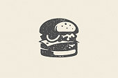 Engraving burger silhouette with texture hand drawn style effect vector illustration. Hamburger logo for fast food packaging and restaurant menu decoration.