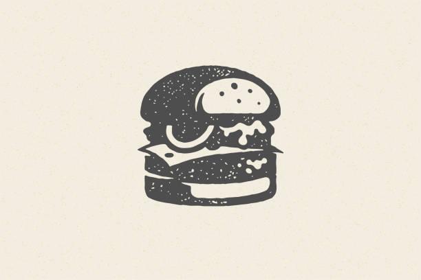 illustrazioni stock, clip art, cartoni animati e icone di tendenza di incisione burger silhouette con texture effetto effetto stile disegnato a mano illustrazione vettoriale - hamburger