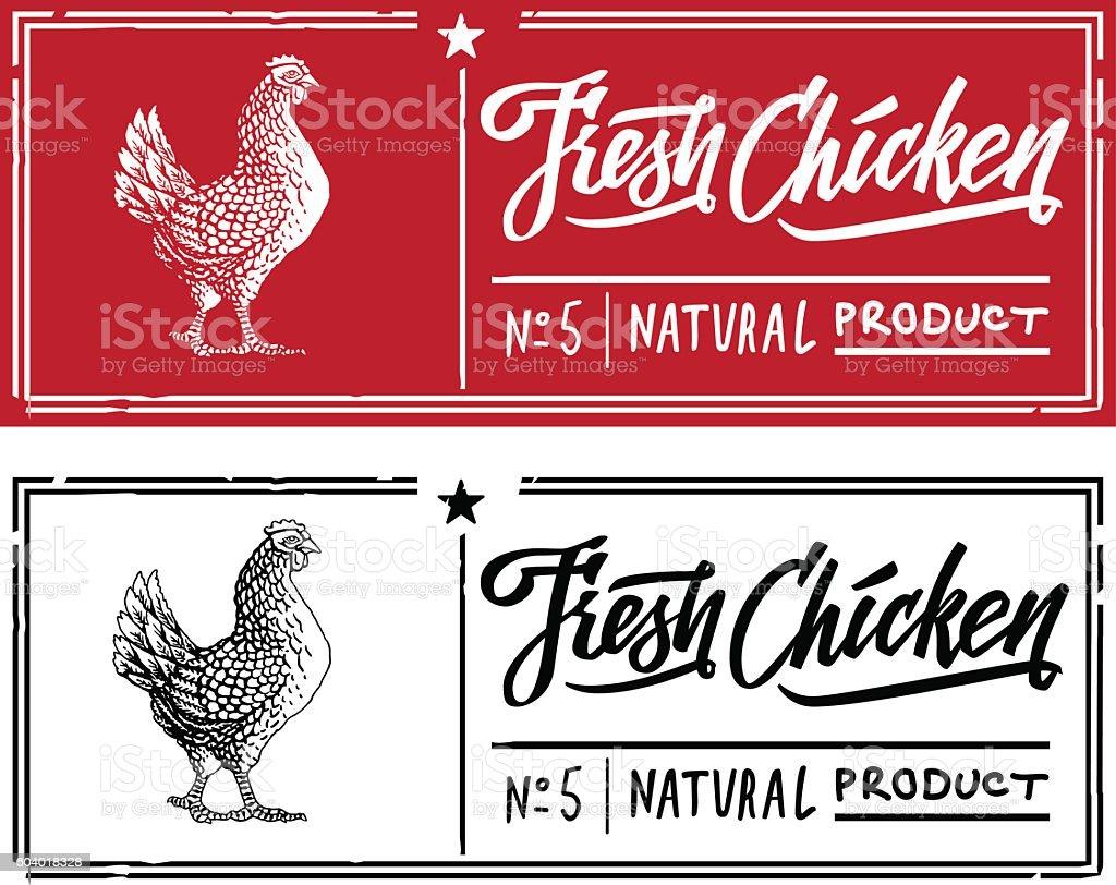engraving chicken vector art illustration