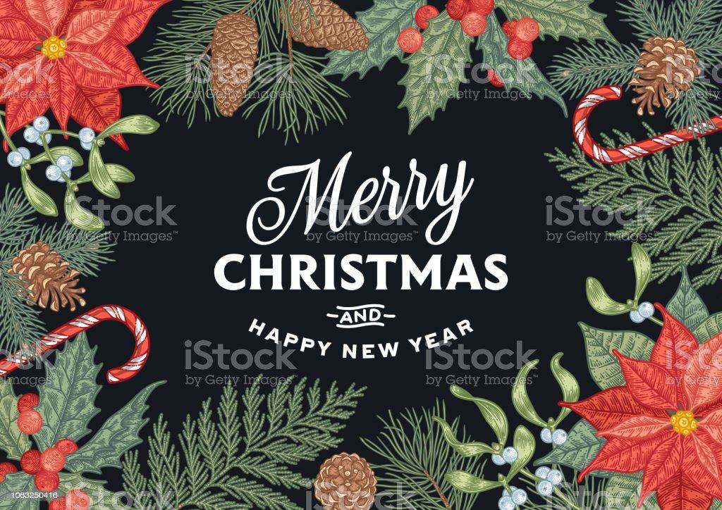 Vetores De Cartao De Natal De Gravura Com Decoracoes Tradicionais