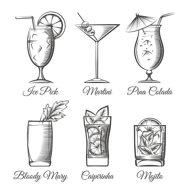 illustrazioni stock, clip art, cartoni animati e icone di tendenza di incisione cocktail vettoriale - aperitivo