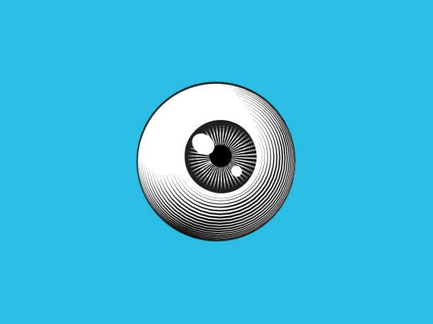 Engraving eyeball illustration on blue BG Engraving drawing human eyeball illustration isolated on blue turquoise background biomedical illustration stock illustrations