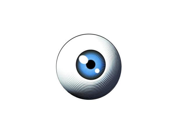 engraving eyeball illustration on blue bg - глазное яблоко stock illustrations