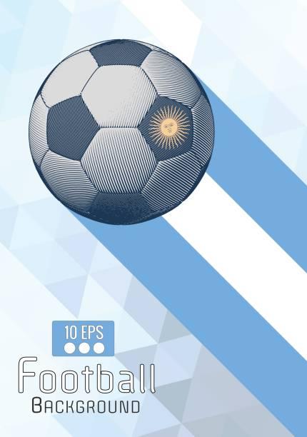 Grabado diseño gráfico fútbol en azul y blanco BG - ilustración de arte vectorial