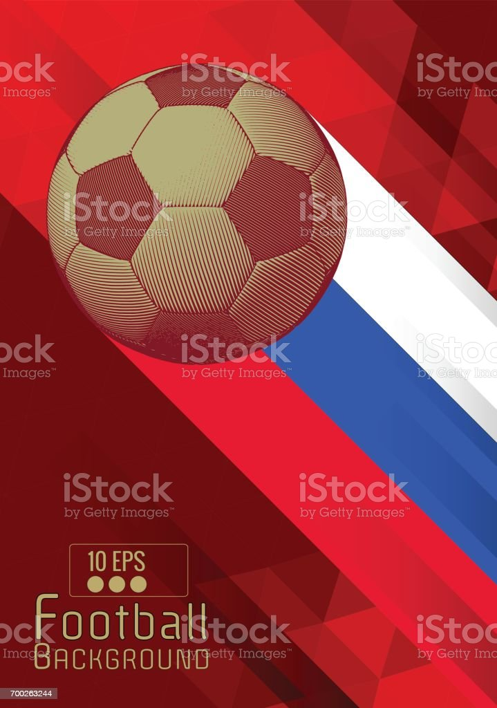 Engraving football graphic layout with color stripe on red BG vector art illustration