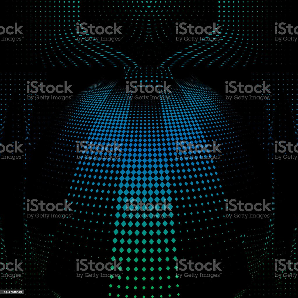 Engraving halftone pattern that suggests cyberspace vector art illustration