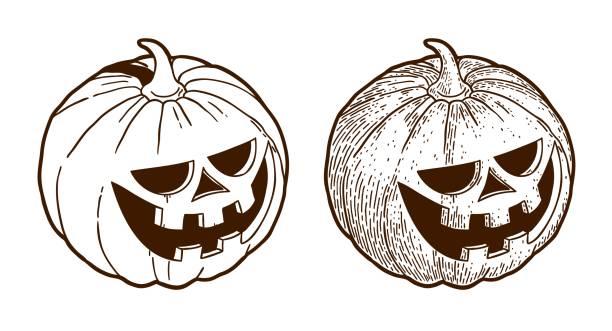 Bекторная иллюстрация engraving halloween pumpkin