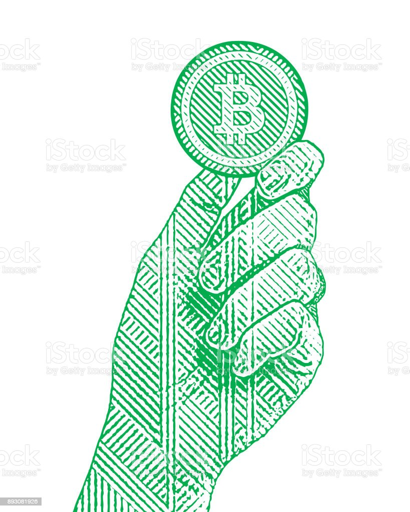 Engraving illustration of a hand holding a bitcoin vector art illustration