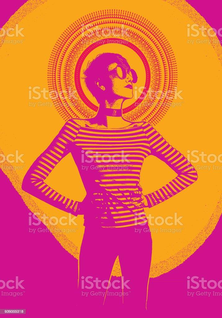 Grabado ilustración de una mujer joven con los brazos en jarras - ilustración de arte vectorial