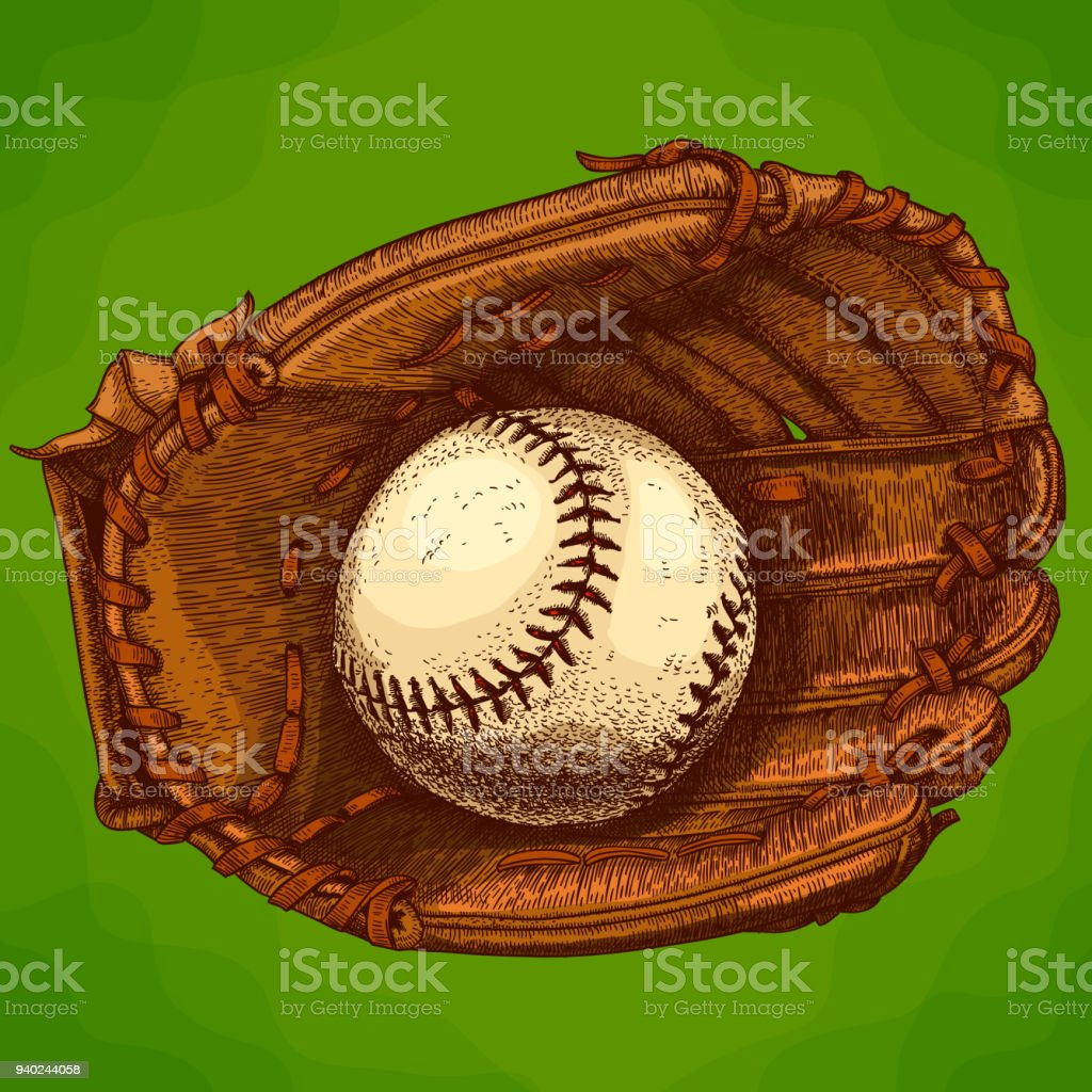 engraving  illustration of baseball glove and ball royalty-free engraving illustration of baseball glove and ball stock illustration - download image now
