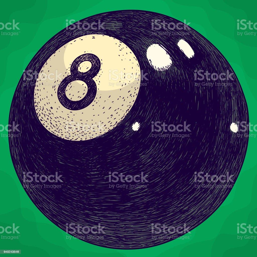 engraving illustration of billiards ball vector art illustration
