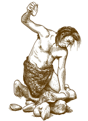 engraving illustration of caveman