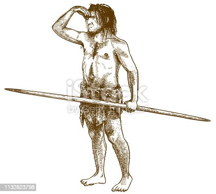 Vector antique engraving drawing illustration of caveman or primitive man isolated on white background