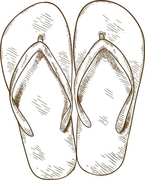 stockillustraties, clipart, cartoons en iconen met gravure van illustratie van slippers - sandaal