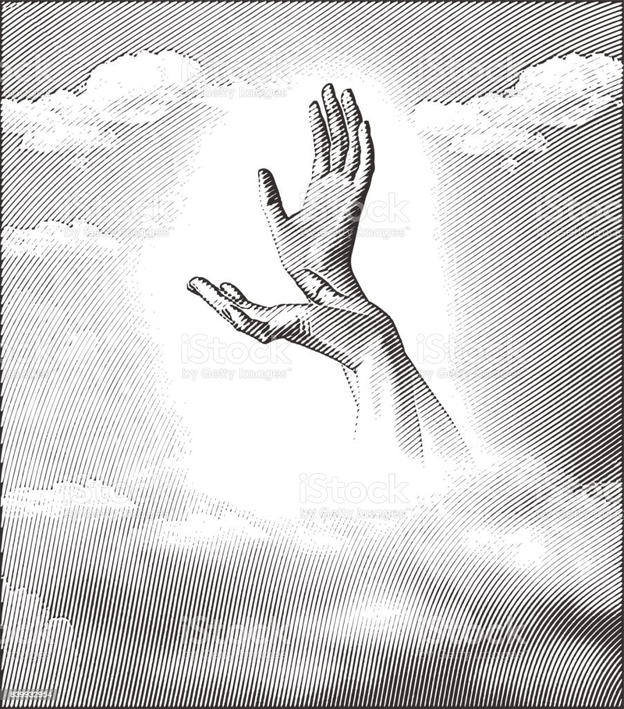 Engraving illustration of Hands reaching to the sky vector art illustration