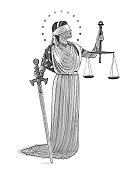 Engraving illustration of Lady Justice holding sword and scales with blindfold and wearing American flag