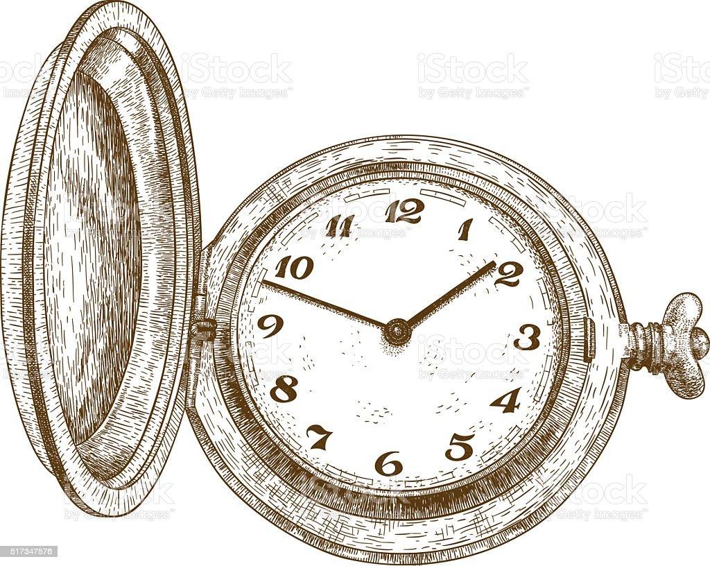 engraving illustration of pocket watch vector art illustration