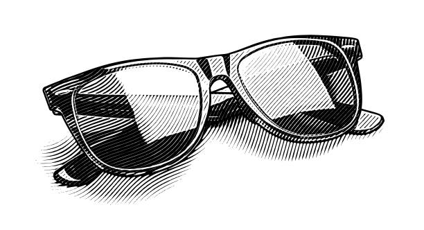 engraving illustration of retro style sunglasses cut out - граттаж stock illustrations