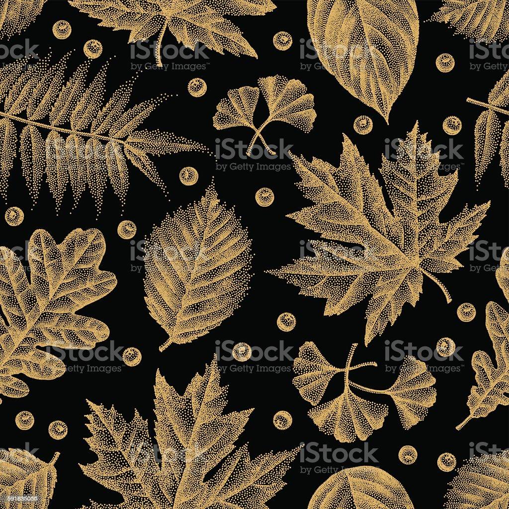 Engraving Leaves Seamless Pattern Vector Illustration vector art illustration