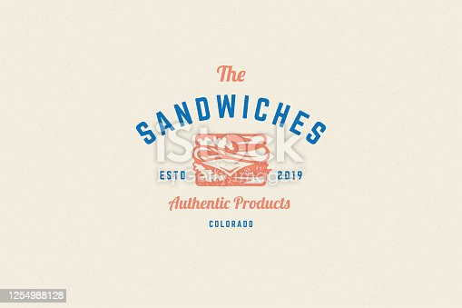 istock Engraving logo sandwich silhouette and modern vintage typography hand drawn style vector illustration 1254988128