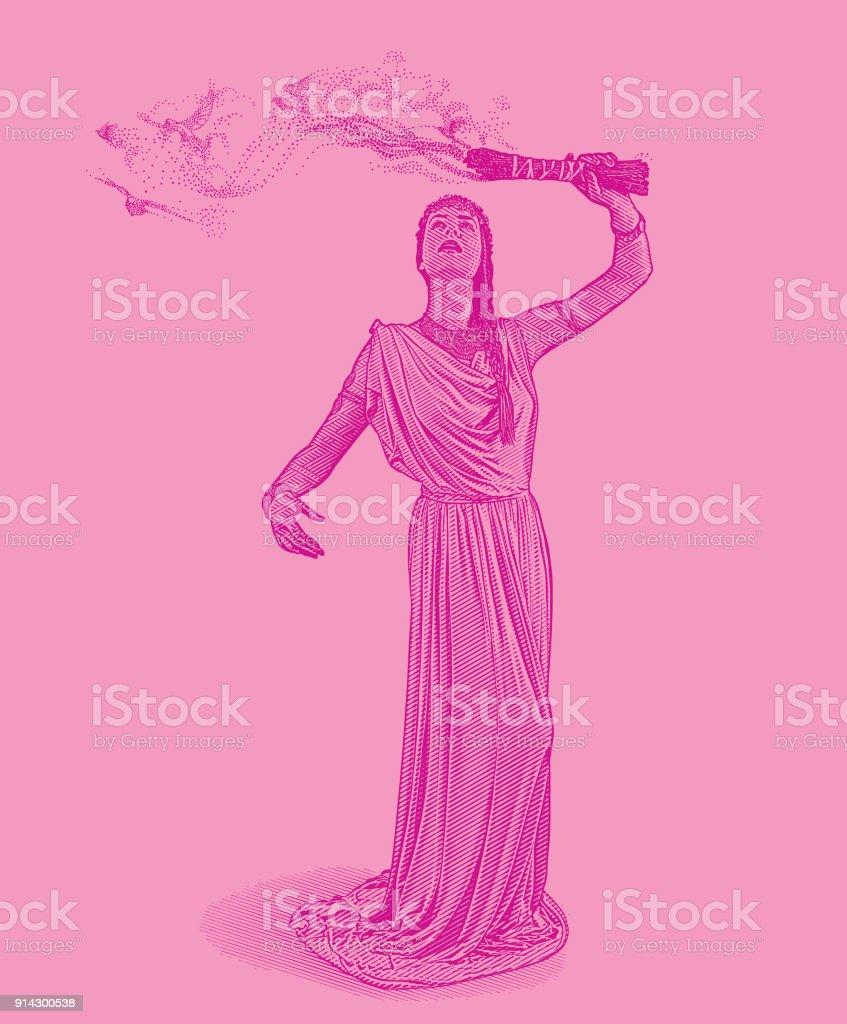 Gravur einer spirituellen Frau Durchführung Salbei Verschmieren Zeremonie mit Rauch morphing in Tauben fliegen – Vektorgrafik