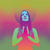 Engraving of a Young woman praying and meditating with psychedelic half tone pattern background. Vibrant color.