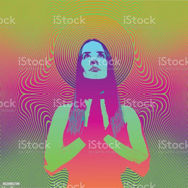 Engraving of a young woman praying and meditating with psychedelic vector id853990296?b=1&k=6&m=853990296&s=612x612&h=q c4ojw9xnndd drpt4mnjb3c5befmvtuizo7so86xg=