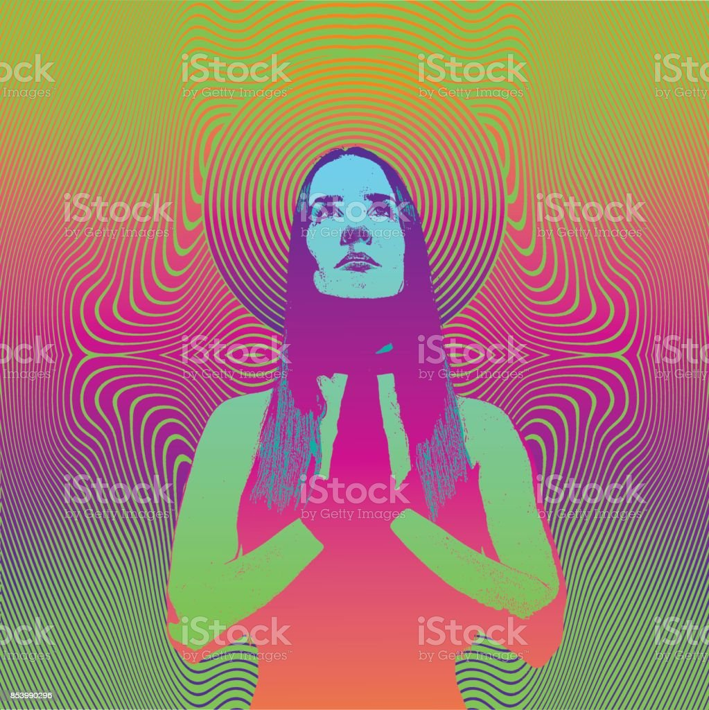 Engraving of a Young woman praying and meditating with psychedelic half tone pattern background vector art illustration