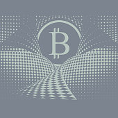 Engraving of Bitcoin background with halftone pattern