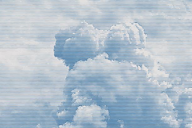 Engraving of cloudscape vector art illustration