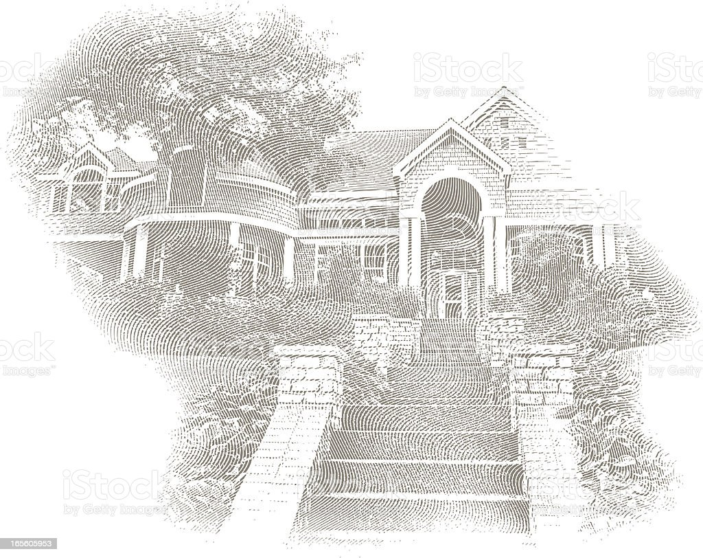 Engraving of Home, Stairs and Arches royalty-free stock vector art