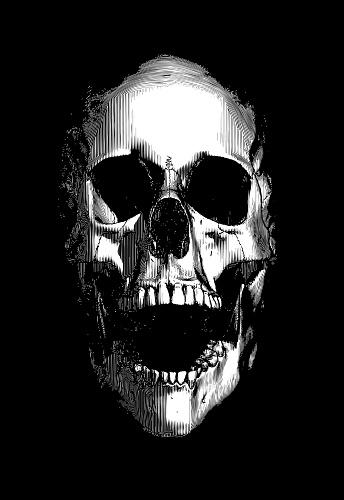 Engraving of human skull screaming illustration on dark background