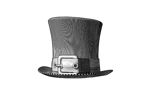 Monochrome vintage engraved drawing of a men's vintage top hat with a belt woodcut style vector illustration isolated on white background