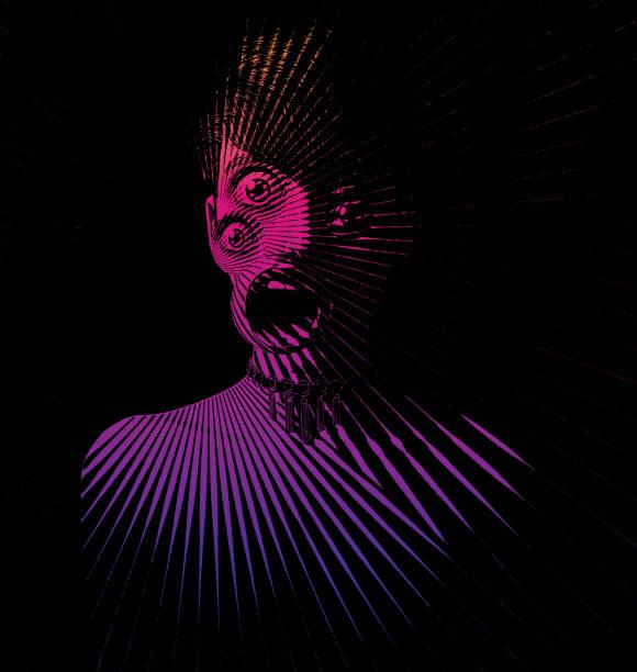 bildbanksillustrationer, clip art samt tecknat material och ikoner med gravyr av skrämmande kvinna monster med tre ögon och chockad uttryck - kvinna ansikte glow