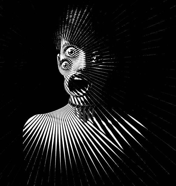 3 つ目とショックを受けた式怖い女性モンスターの彫刻 - 恐怖点のイラスト素材/クリップアート素材/マンガ素材/アイコン素材