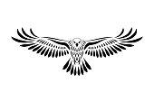 Engraving of stylized hawk