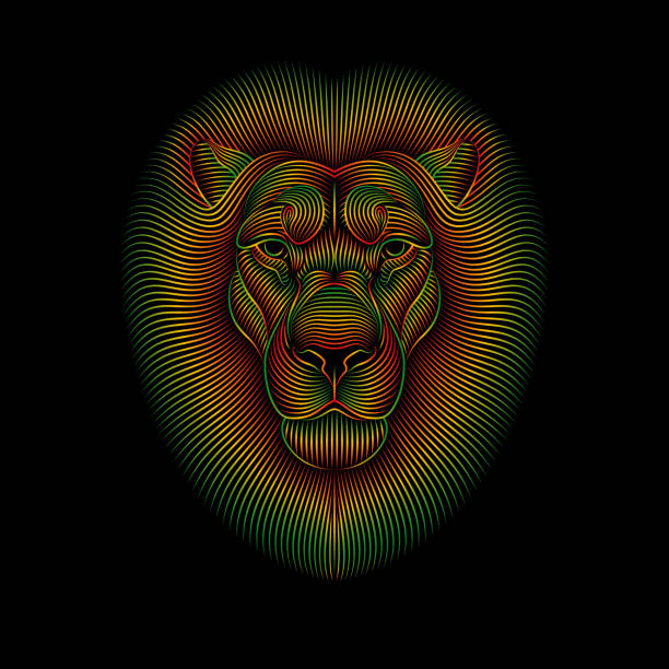 Engraving of stylized rasta lion on black background. Engraving of stylized rasta lion on black background. Linear drawing. rastafarian stock illustrations