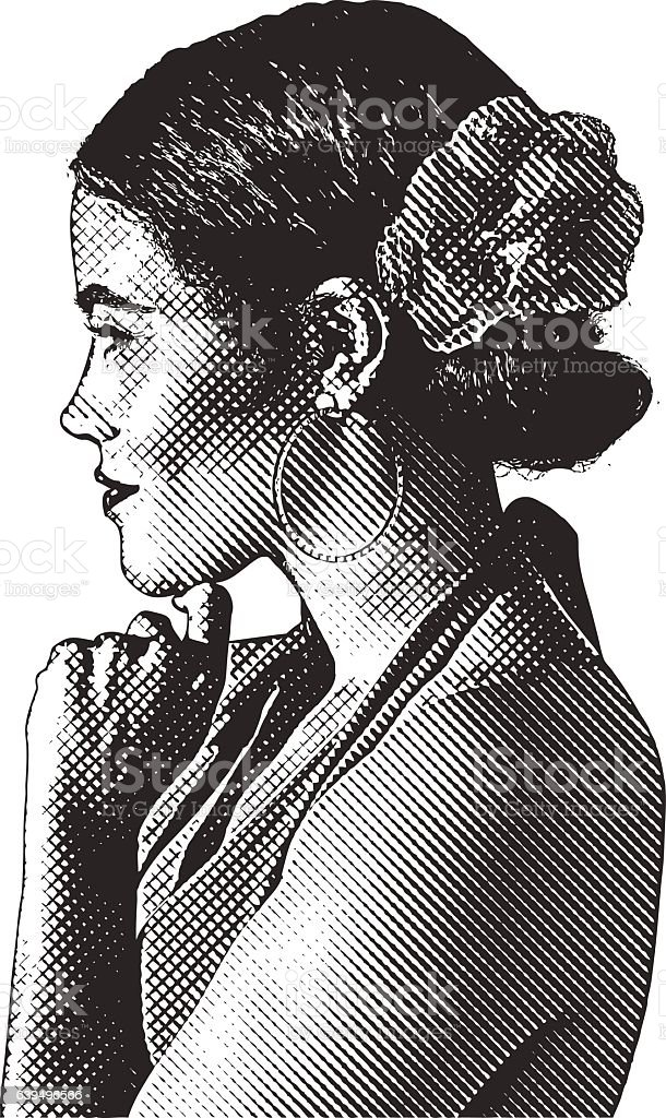 Engraving portrait of a Hispanic woman dressed for dancing vector art illustration