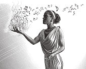 istock Engraving portrait of a mixed race female musician composing music 912303594