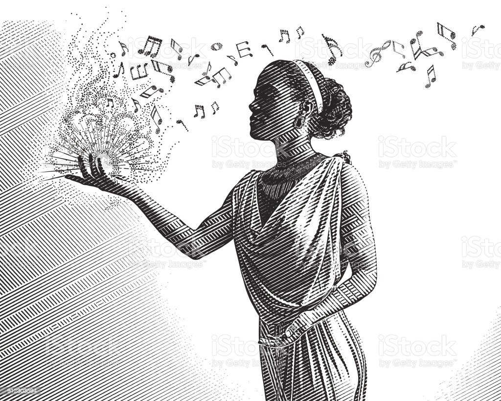 Engraving portrait of a mixed race female musician composing music vector art illustration
