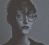 Engraving Portrait of an intelligent young lesbian creative professional with pensive facial expression