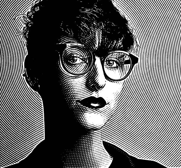 engraving portrait of an intelligent young lesbian creative professional - граттаж stock illustrations